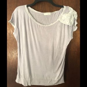 Lush t shirt with bow on the shoulder